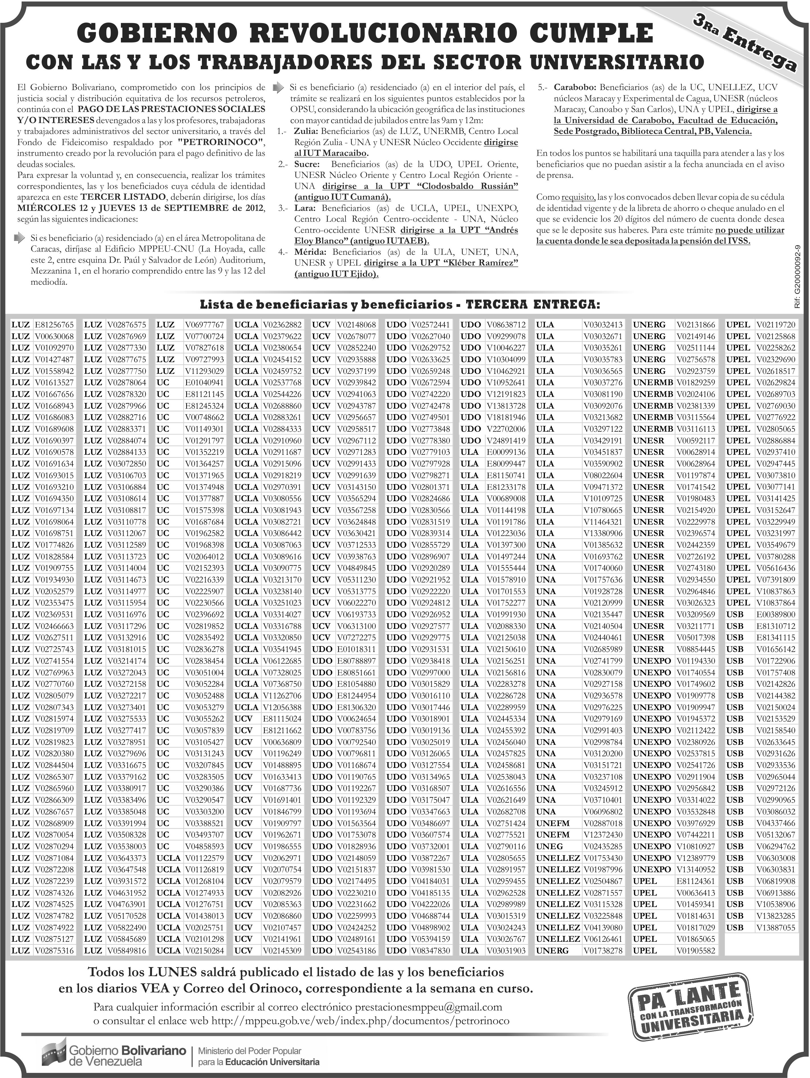 Tercer listado de pago de prestaciones a profesores universitarios