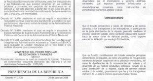 gaceta oficial junio 2018 salario minimo venezuela
